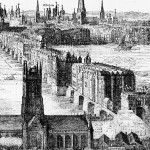 An engraving by Claes Visscher showing Old London Bridge in 1616, with what is now Southwark Cathedral in the foreground. The spiked heads of executed criminals can be seen above the Southwark gatehouse.