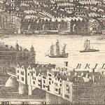 Drawing of London Bridge from a 1682 map